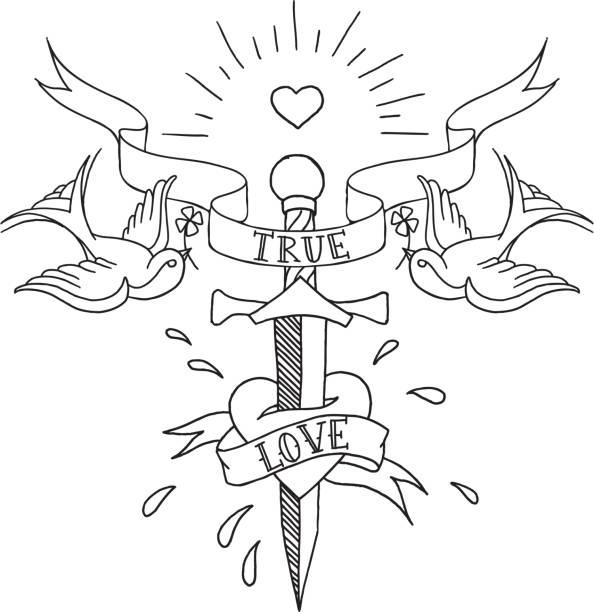 old school patrón de tatuajes - ilustración de arte vectorial