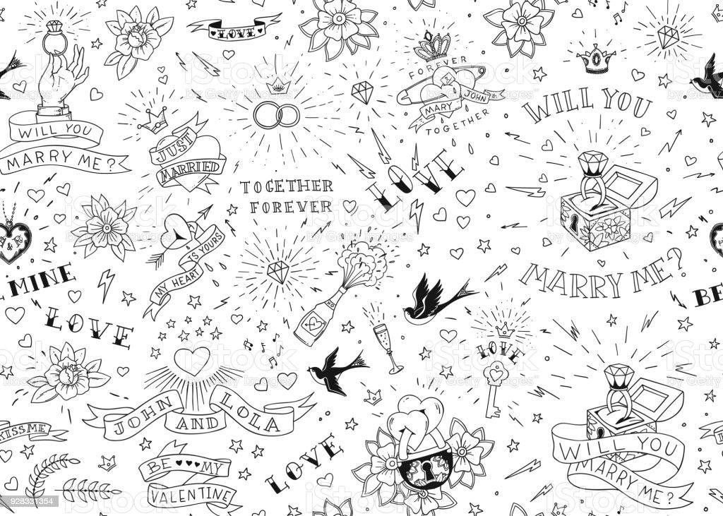 Vetores De Velha Escola Tatuagens Seamles Padrão Com