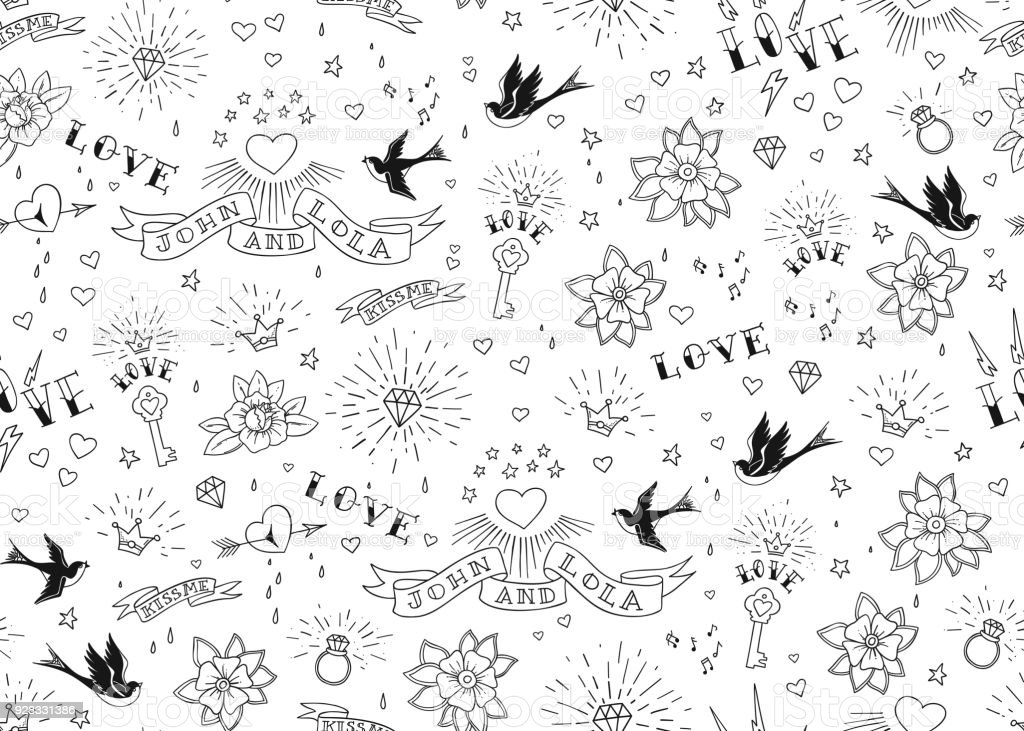 Old School Tattoos Seamles Pattern With Birds Flowers Roses And