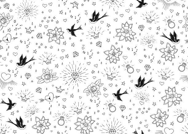 ilustraciones, imágenes clip art, dibujos animados e iconos de stock de tatuajes de la vieja escuela seamles patrón con aves, flores, rosas y corazones. amor y el tema de la boda. diseño de tatuaje tradicional de blanco y negro. ilustración de vector - tatuajes de estrellas