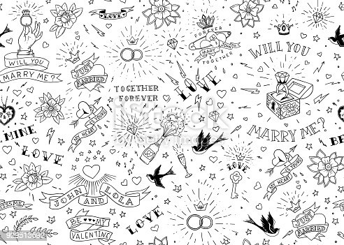 istock Old school tattoos seamles pattern with birds, flowers, roses and hearts. Love and wedding theme. Black and white traditional tattoo design. Vector illustration 929513592