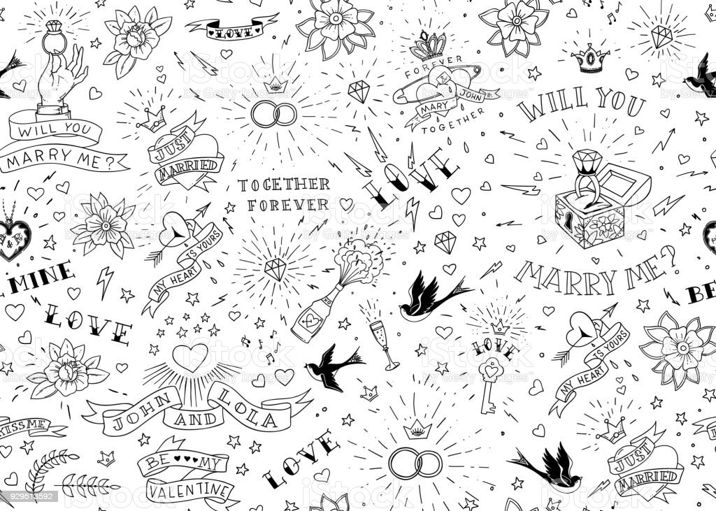 Old school tattoos seamles pattern with birds, flowers, roses and hearts. Love and wedding theme. Black and white traditional tattoo design. Vector illustration vector art illustration