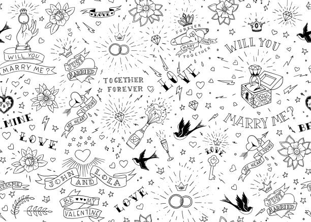 Old school tattoos seamles pattern with birds, flowers, roses and hearts. Love and wedding theme. Black and white traditional tattoo design. Vector illustration Old school tattoos seamles pattern with birds, flowers, roses and hearts. Love and wedding theme. Black and white traditional tattoo design. Vector illustration. backgrounds symbols stock illustrations