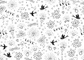Old school tattoos seamles pattern with birds, flowers, roses and hearts. Love and wedding theme. Black and white traditional tattoo design. Vector illustration.