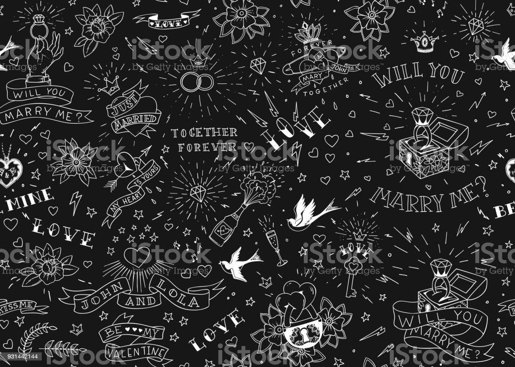 Tatuajes de la vieja escuela seamles patrón con aves, flores, rosas y corazones. Amor y el tema de la boda. Diseño de tatuaje tradicional de blanco y negro. Ilustración de vector - ilustración de arte vectorial