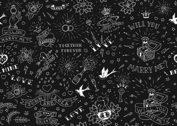 古い学校の入れ墨の鳥、花、バラやハート、seamles パターン。愛と結婚式のテーマ。黒と白の伝統的なタトゥーのデザイン。ベクトル図 - 星のタトゥー点のイラスト素材/クリップアート素材/マンガ素材/アイコン素材