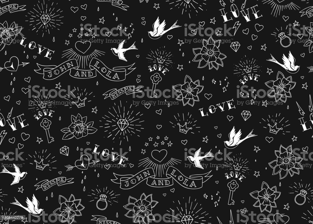 Oldschool Tattoos Gelast Patroon Met Vogels Bloemen Rozen En Harten