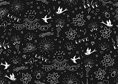 Old school tattoos seamles pattern with birds, flowers, roses and hearts. Love and wedding theme. Black and white traditional tattoo design. Vector illustration