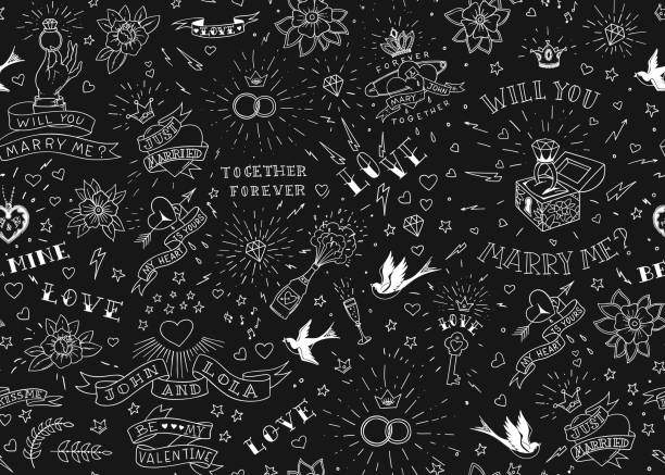old school tattoos seamles pattern with birds, flowers, roses and hearts. love and wedding theme. black and white traditional tattoo design. vector illustration - weddings background stock illustrations