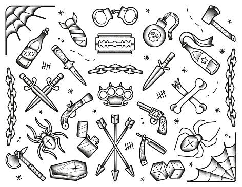 Old school tattoos set. Black icons: knifes, bones, bombs, pistols. Hand drawn dotwork isolated illustration.