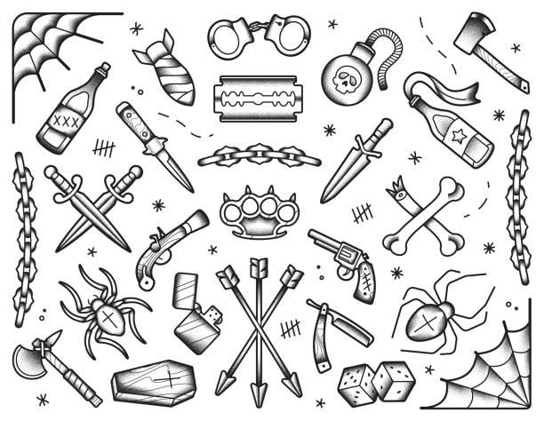 illustrations, cliparts, dessins animés et icônes de ensemble de tatouages de la vieille école. icônes noires: couteaux, os, bombes, pistolets. illustration isolée de dotwork transformé dessiné à la main. - tatouages