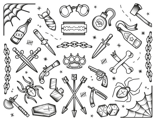 ilustrações de stock, clip art, desenhos animados e ícones de old school tattoos set. black icons: knifes, bones, bombs, pistols. hand drawn dotwork isolated illustration. - tatuagem