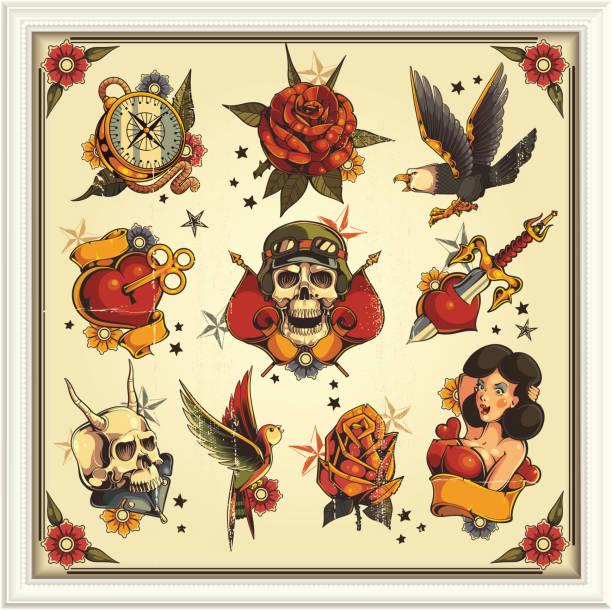 ilustraciones, imágenes clip art, dibujos animados e iconos de stock de tatuajes old school - tatuajes de calaveras