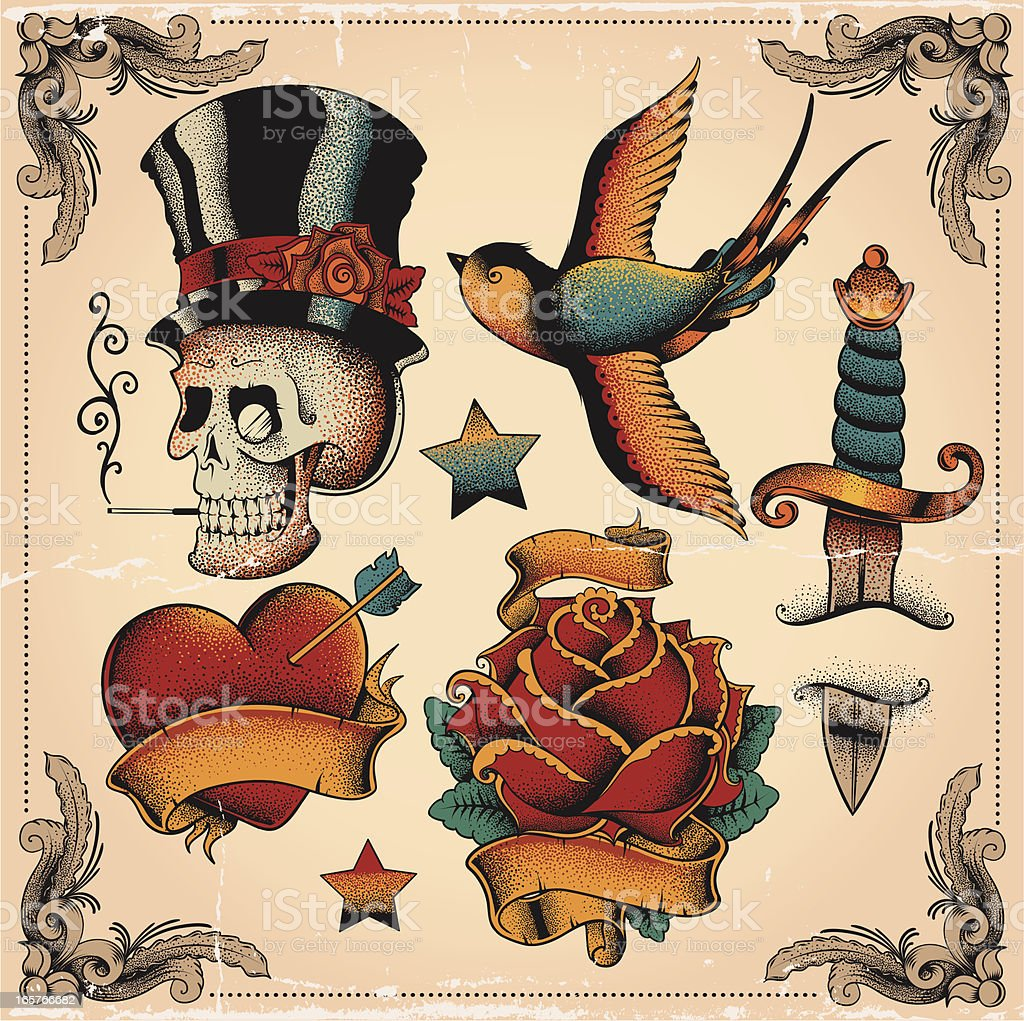 Old school tattoos vector art illustration