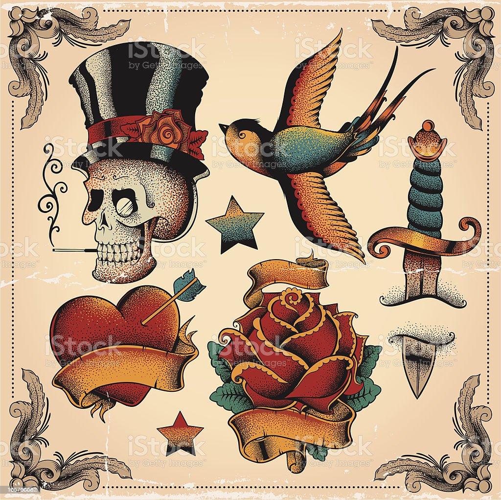 Old school tatuagens - ilustração de arte em vetor