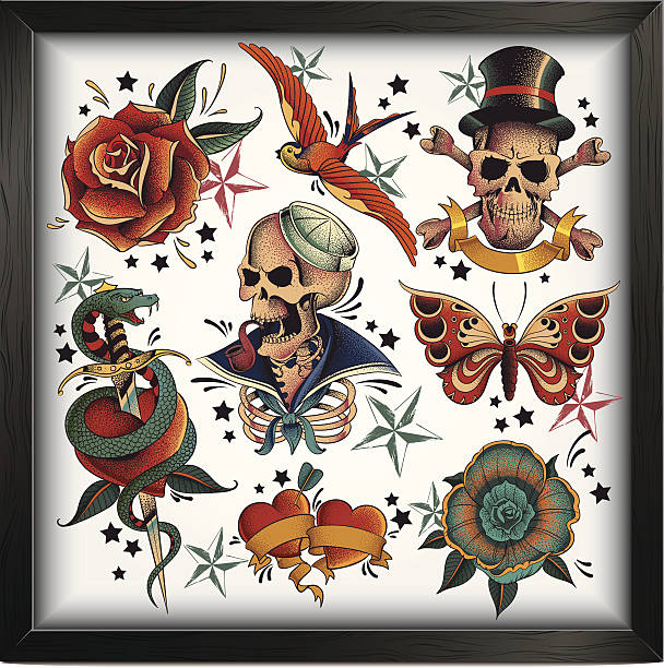 old school tattoos - snakes tattoos stock illustrations, clip art, cartoons, & icons