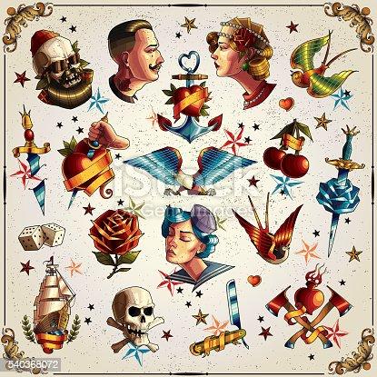 istock Old school tattoos 540368072