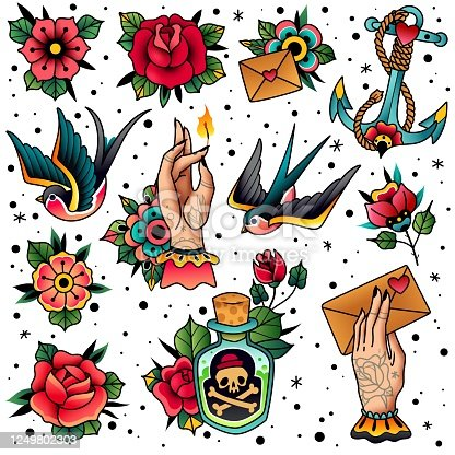 istock Old school traditional tattoo set. Old school traditional tattoo flash colored icons pack with swallow rose heart hands flowers anchor skull bottle with potion symbols isolated vector illustration 1249802303