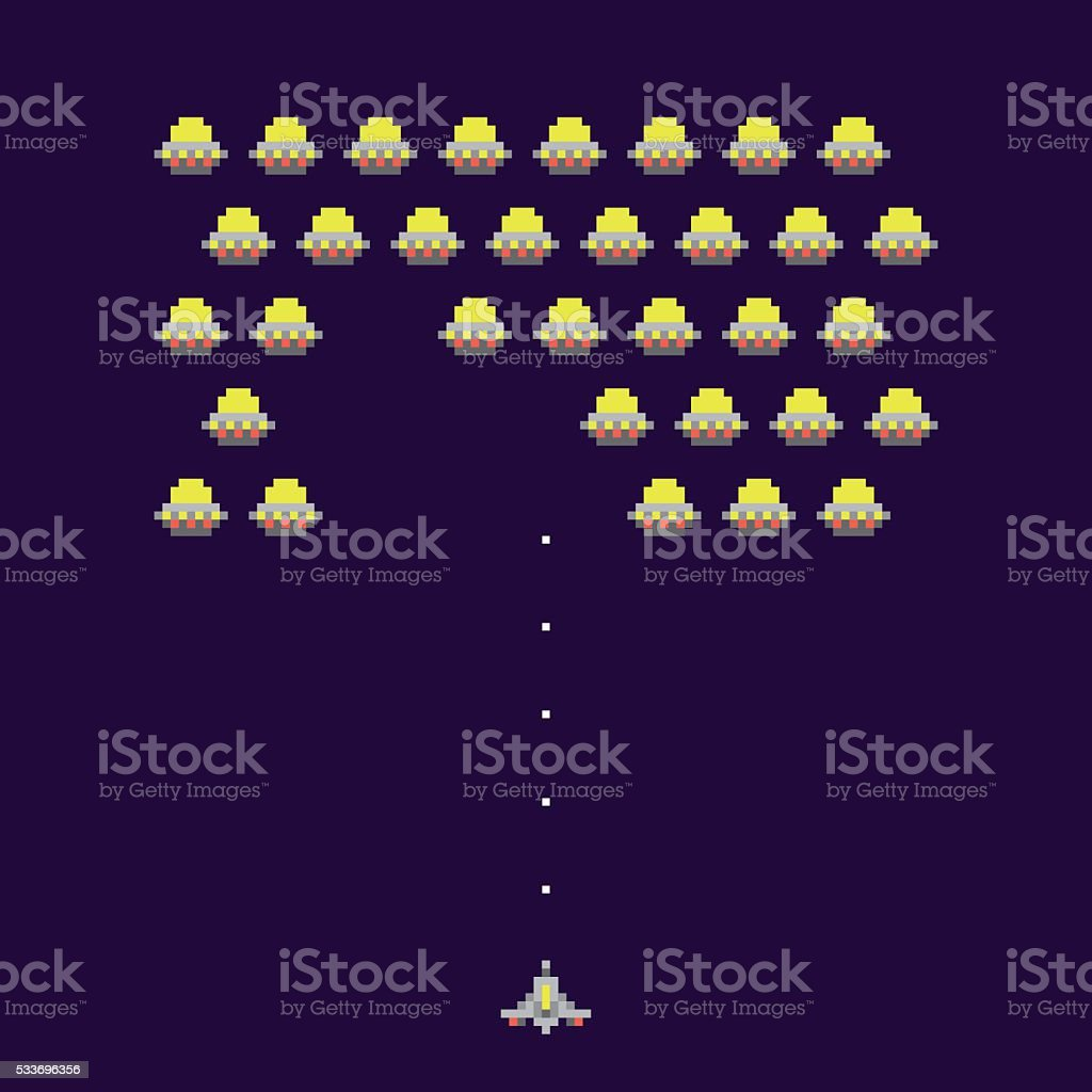 Old school ufos arcade game vector illustration vector art illustration