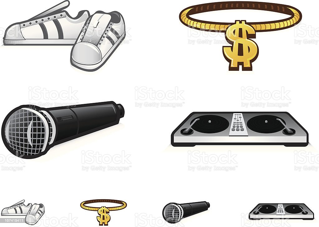 Old School Urban Icons royalty-free old school urban icons stock vector art & more images of bling bling