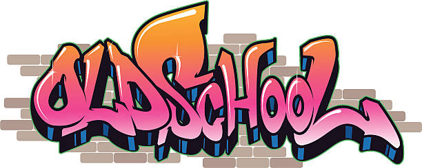 old school - graffiti fonts stock illustrations, clip art, cartoons, & icons