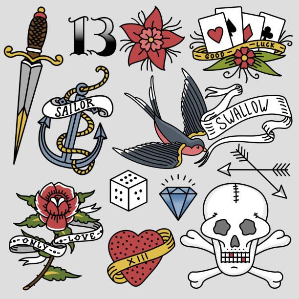 ilustrações de stock, clip art, desenhos animados e ícones de old school vintage retro tattoo ink art style hand drawn tattooing symbol traditional graphic drawing vector illustration - tatuagem