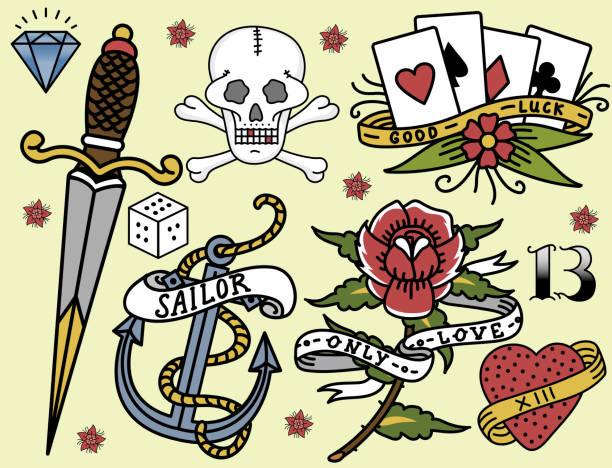 illustrations, cliparts, dessins animés et icônes de old school vintage retro tatouage encre art style main dessinée tatouage symbole traditionnel dessin vector illustration graphique - tatouages marins