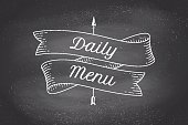 Old school vintage ribbon with text Daily menu