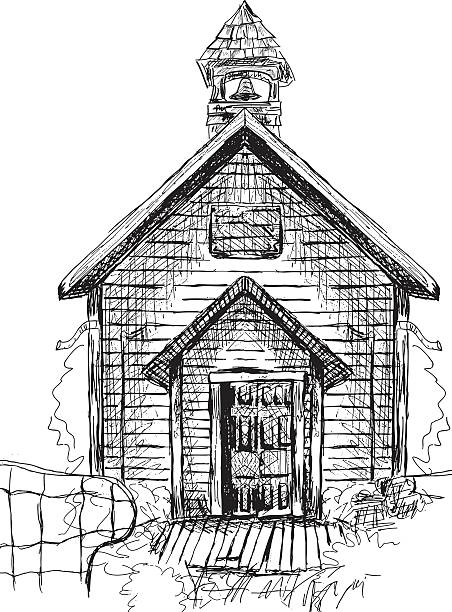 Old Schoolhouse Sketch Old Schoolhouse Sketch schoolhouse stock illustrations