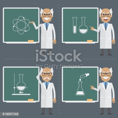 Illustration, old scientist indicates to chalkboard, format EPS 8