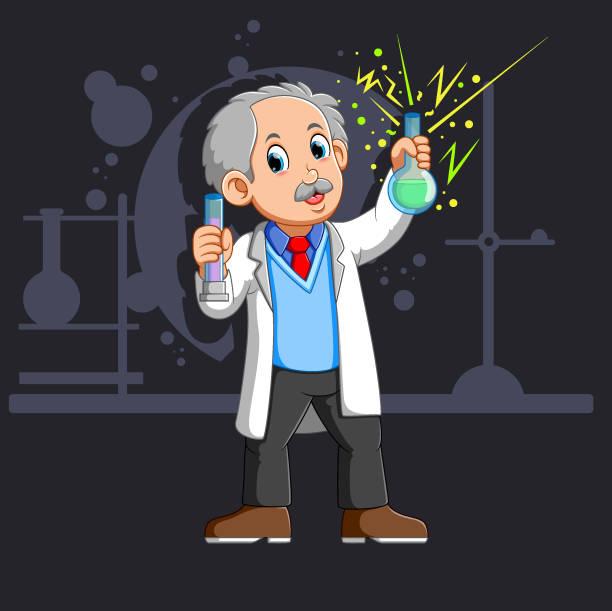 alter wissenschaftler mit einem kolben - extravagant schutzbrille stock-grafiken, -clipart, -cartoons und -symbole
