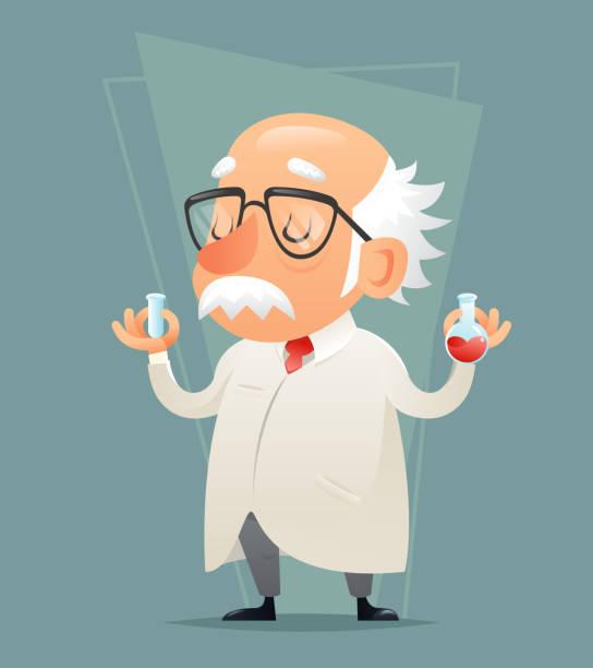 illustrations, cliparts, dessins animés et icônes de old scientist with test-tube icon retro cartoon design mobile - professeur d'université