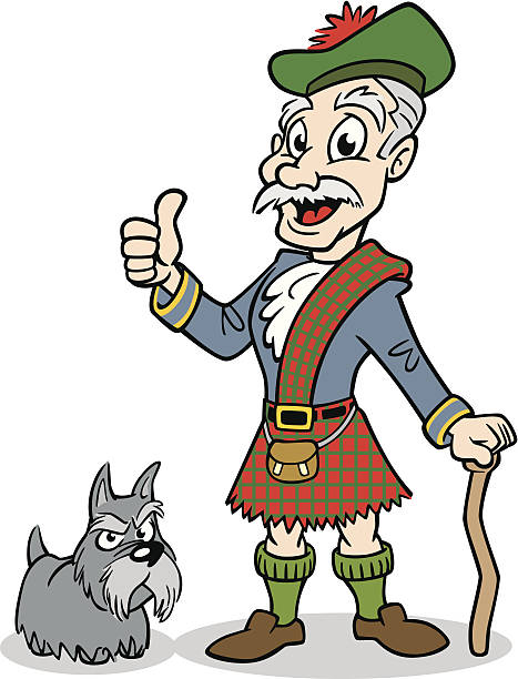 old scottish man - old man showing thumbs up cartoons stock illustrations, clip art, cartoons, & icons