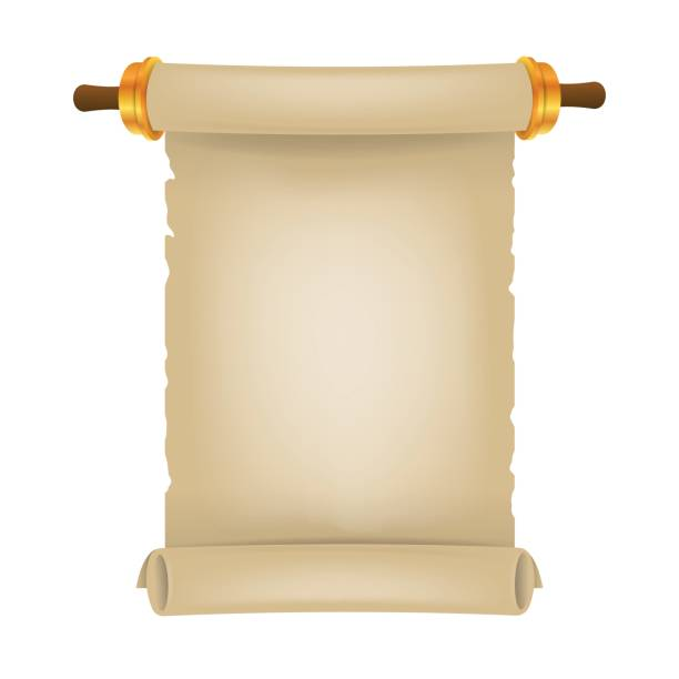 old scroll with place for text. parchment realistic. vintage blank paper scroll - purim stock illustrations, clip art, cartoons, & icons