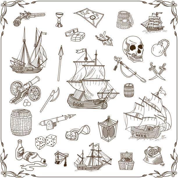 ilustrações, clipart, desenhos animados e ícones de marinha conjunto de rabiscos - mapas de tesouro