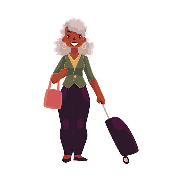 old senior african american woman with suitcase and handbag vector art illustration