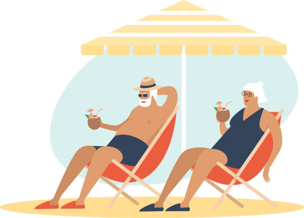 Old senior couple enjoying a coconut cocktailon the beach underparasol together. Carefree retirement, travel, tropical vacation, summer tourism concept. vector art illustration