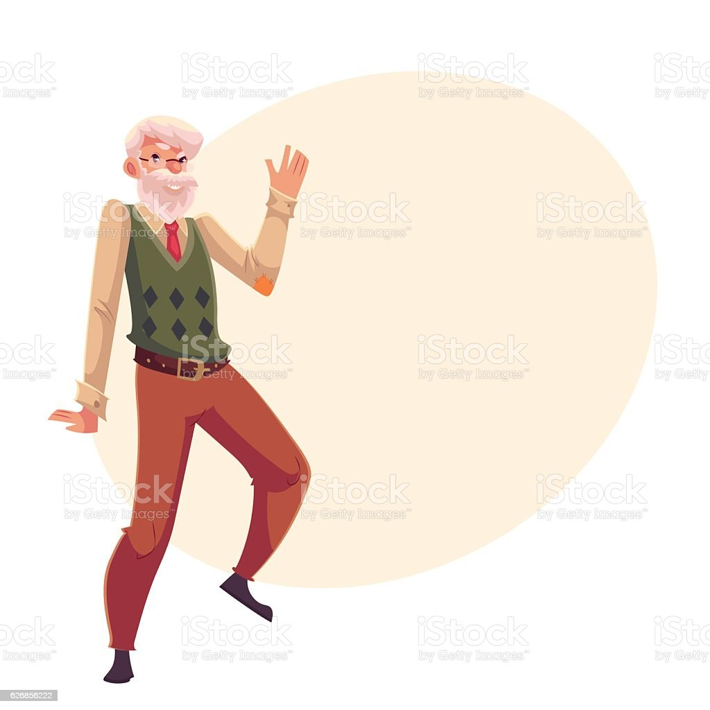 Old, senior, gray-haired man dancing happily vector art illustration