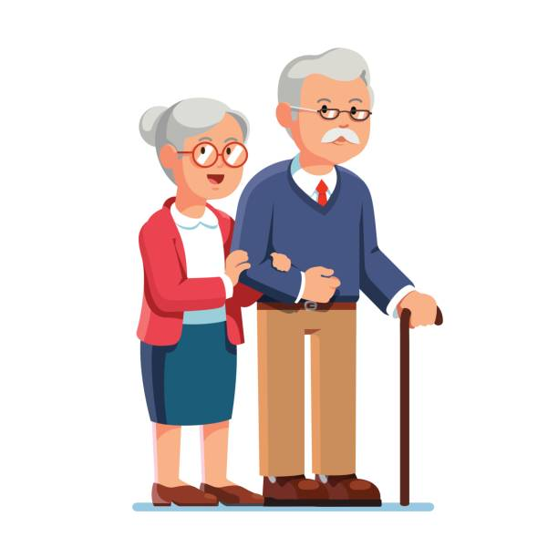old senior man and aged woman standing together - old man glasses cartoon stock illustrations, clip art, cartoons, & icons