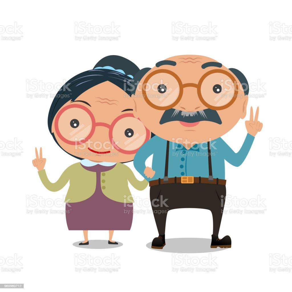 Senior hombre y mujer de pie o caminando de brazo en brazo aislado sobre fondo blanco. Ilustración de vector. - ilustración de arte vectorial