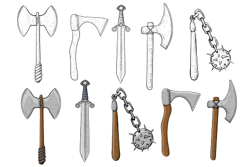 Old set of weapons. Hand drawn sketch