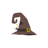 Old, shabby, worn out witch, wizrd pointed hat