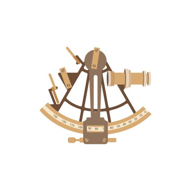 Alte Schiff Sextant. Vektor-Illustration in einem flachen Stil – Vektorgrafik