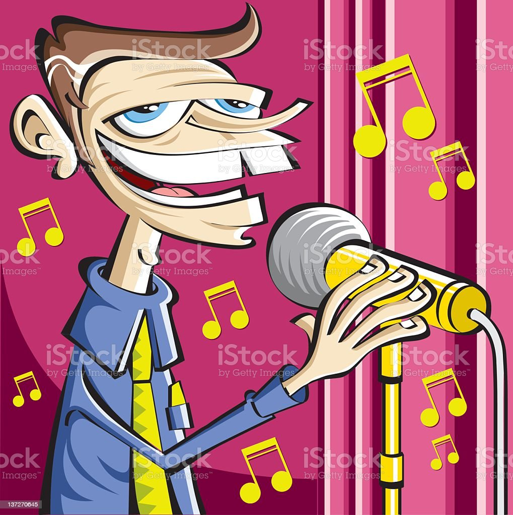 old singer at show royalty-free stock vector art