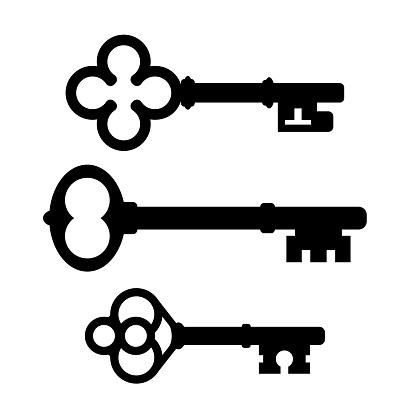 Old ornate keys vector icons set isolated on white background