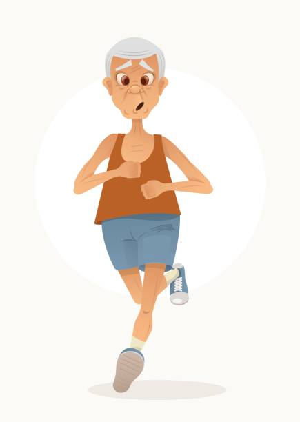 old sporty happy grandpa character run. healthy active lifestyle - old man computer silhouette stock illustrations, clip art, cartoons, & icons