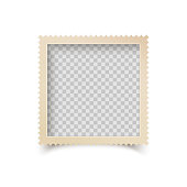 Old Square Photo Frame with Ornamental Edge. Retro Photo Blank with Shadow Isolated on White Background. Vector illustration