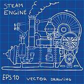 Old steam engine drawing. Vintage illustration