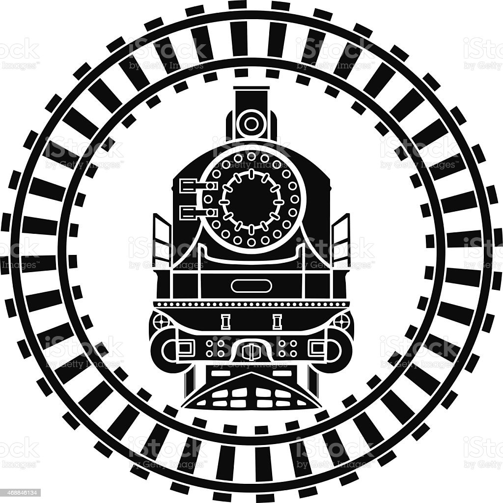 Old steam locomotive railway frame vector art illustration