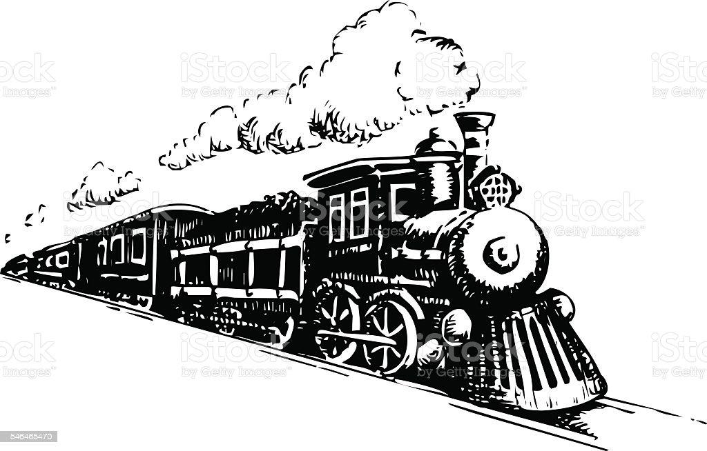 Ilustración de Old Locomotora De Vapor y más banco de imágenes de ...